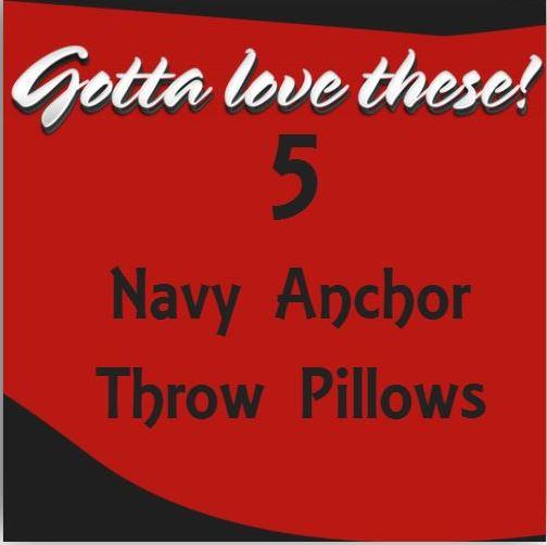Navy Anchor Throw Pillows